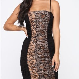 BRAND NEW Ruched Snake Print Dress